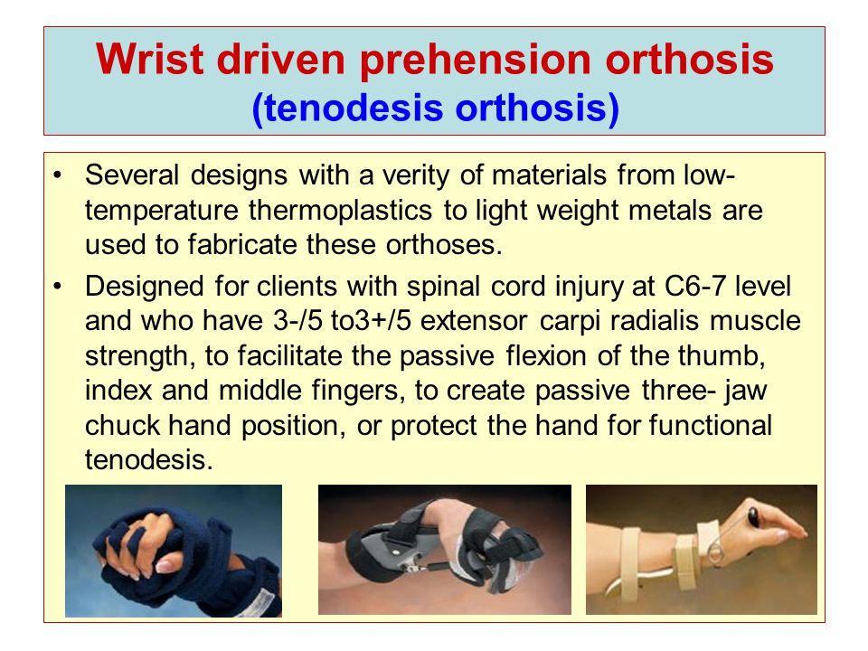 Utensil holders (ADL, UNIVERSAL SPLINT) A custom or prefabricated splint, fabricated from leather and flexible metal.