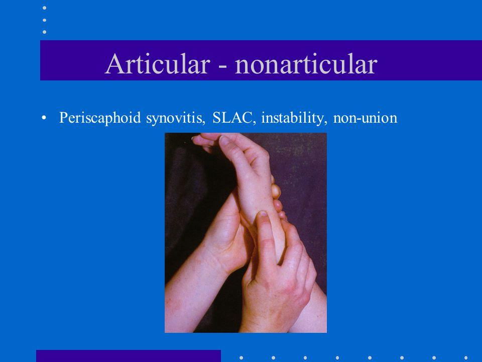 Articular - nonarticular Periscaphoid synovitis, SLAC, instability, non-union