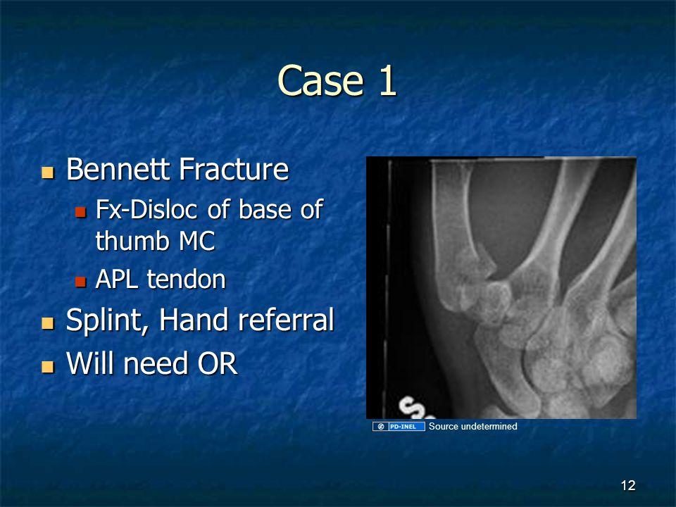 Case 1 Bennett Fracture Bennett Fracture Fx-Disloc of base of thumb MC Fx-Disloc of base of thumb MC APL tendon APL tendon Splint, Hand referral Splin