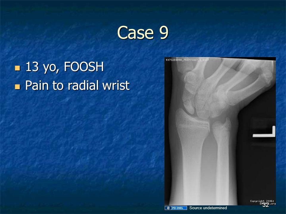 Case 9 13 yo, FOOSH 13 yo, FOOSH Pain to radial wrist Pain to radial wrist 32 Source undetermined