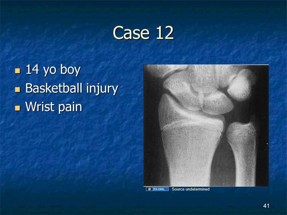 Case 12 14 yo boy 14 yo boy Basketball injury Basketball injury Wrist pain Wrist pain 41 Source undetermined