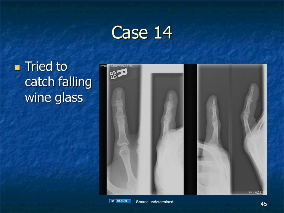 Case 14 Tried to catch falling wine glass Tried to catch falling wine glass 45 Source undetermined