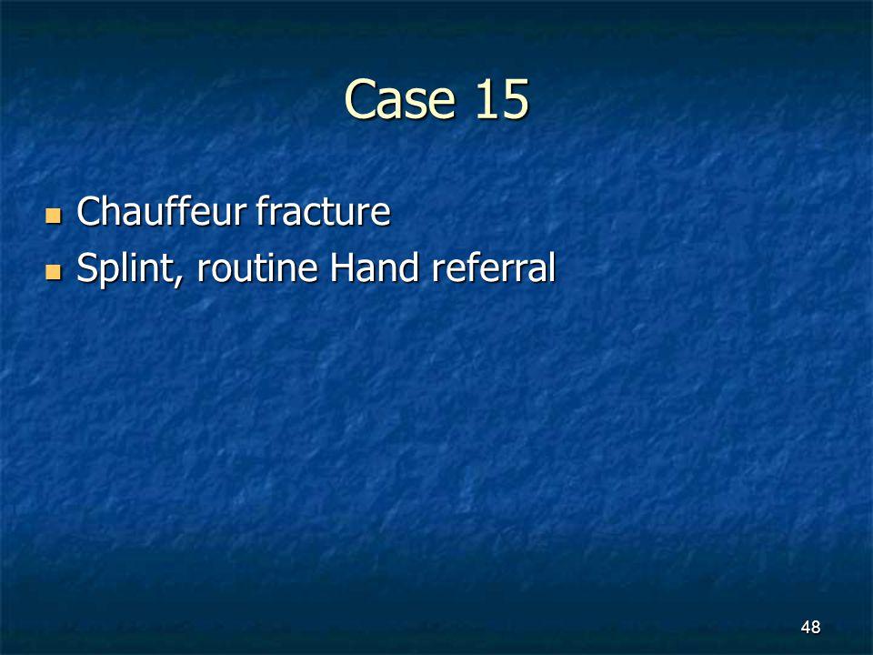Case 15 Chauffeur fracture Chauffeur fracture Splint, routine Hand referral Splint, routine Hand referral 48