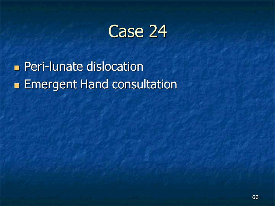 Case 24 Peri-lunate dislocation Peri-lunate dislocation Emergent Hand consultation Emergent Hand consultation 66
