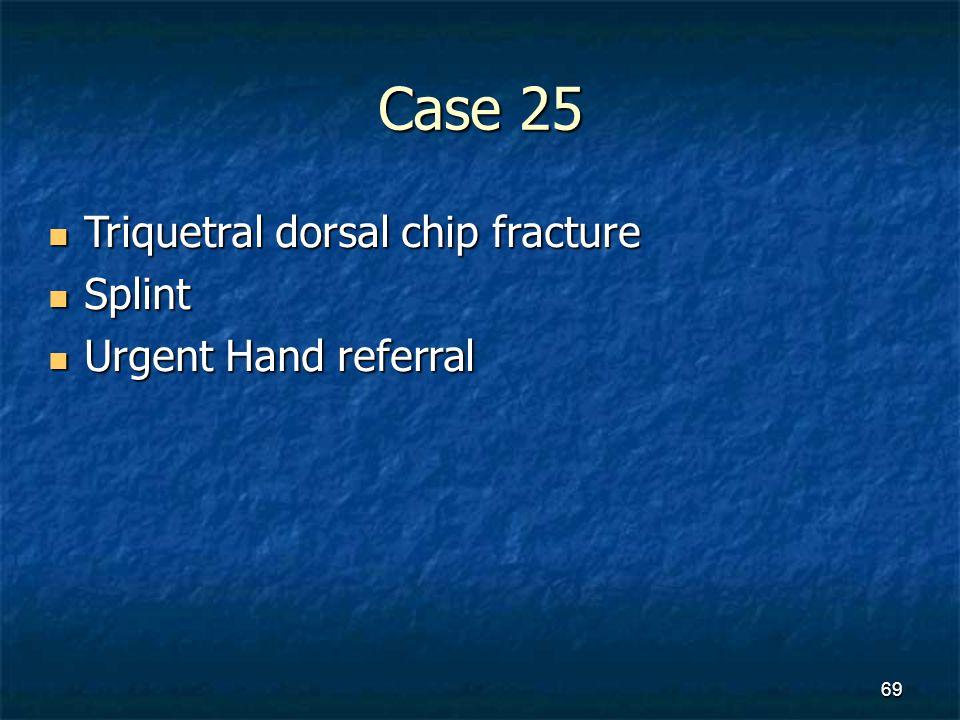 Case 25 Triquetral dorsal chip fracture Triquetral dorsal chip fracture Splint Splint Urgent Hand referral Urgent Hand referral 69