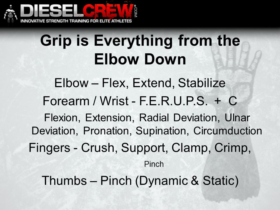 Grip is Everything from the Elbow Down Elbow – Flex, Extend, Stabilize Forearm / Wrist - F.E.R.U.P.S.
