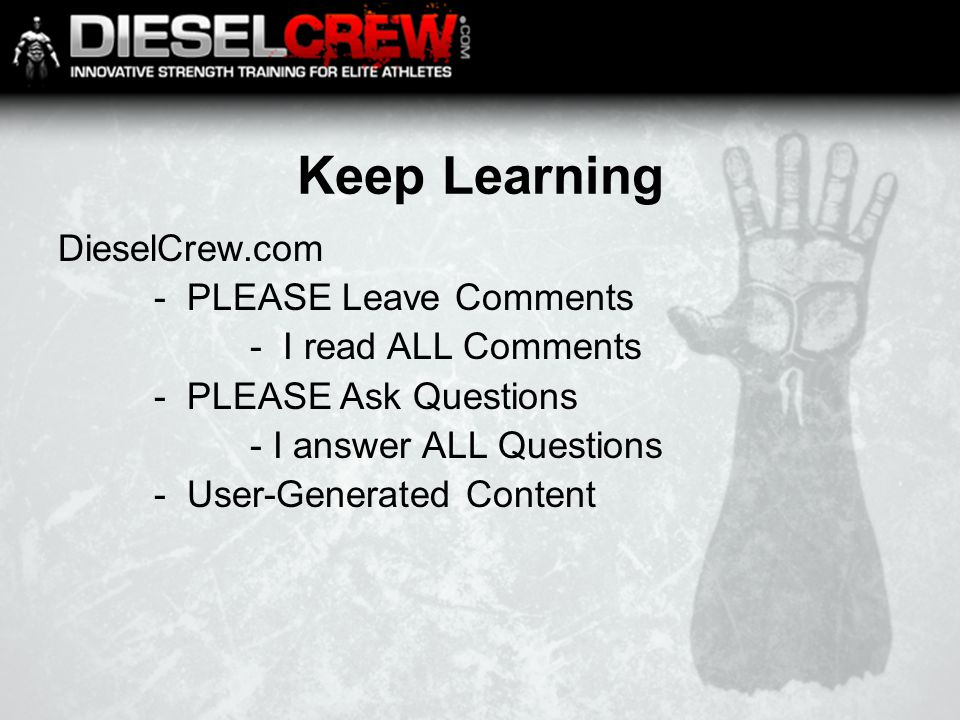 Keep Learning DieselCrew.com - PLEASE Leave Comments - I read ALL Comments - PLEASE Ask Questions - I answer ALL Questions - User-Generated Content