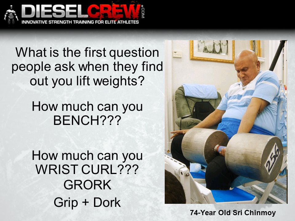What is the first question people ask when they find out you lift weights.