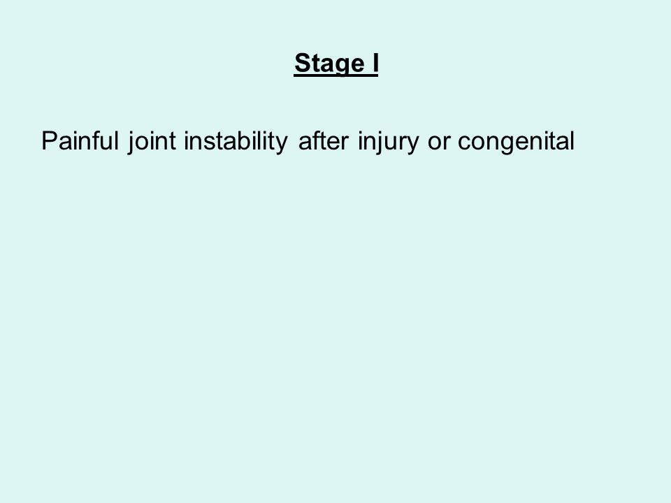 Stage I Painful joint instability after injury or congenital