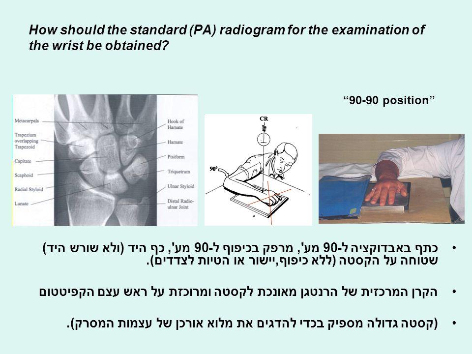 הערכה רנטגנית של שורש היד וכף היד A1= radial angulation 120-125 deg.