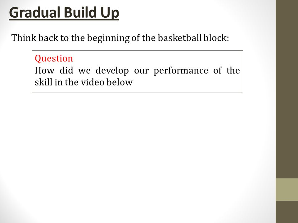 Gradual Build Up Group Task Put the series of practices below in the correct order to explain how you developed your performance of the lay-up Standing one step back at 45 degree angle, step on to outside foot to take off, arm fully extended shoot with one had by flicking wrist Standing at 45 degree angle, arm fully extended shoot with one had by flicking wrist Standing two steps back at 45 degree angle, step on to inside foot then outside foot to take off, arm fully extended shoot with one had by flicking wrist Standing three steps back at 45 degree angle, step on to outside foot then inside foot and finally outside to take off, arm fully extended shoot with one had by flicking wrist Stand three steps back at 45 degrees, step on to outside foot, as you do, bounce ball, then step on to inside foot and finally outside foot to take off, fully extend arm to shoot with one had by flicking wrist Dribble into basket, as you approach basket take off on outside foot, fully extend arm and shoot by flicking wrist to place ball of corner of inner square