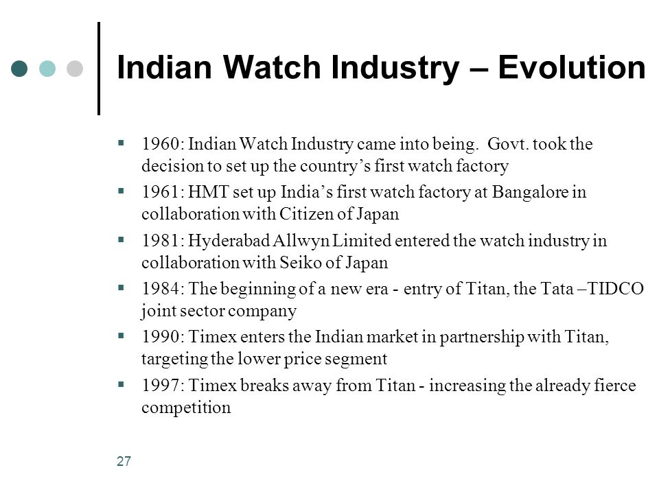 27 Indian Watch Industry – Evolution  1960: Indian Watch Industry came into being.