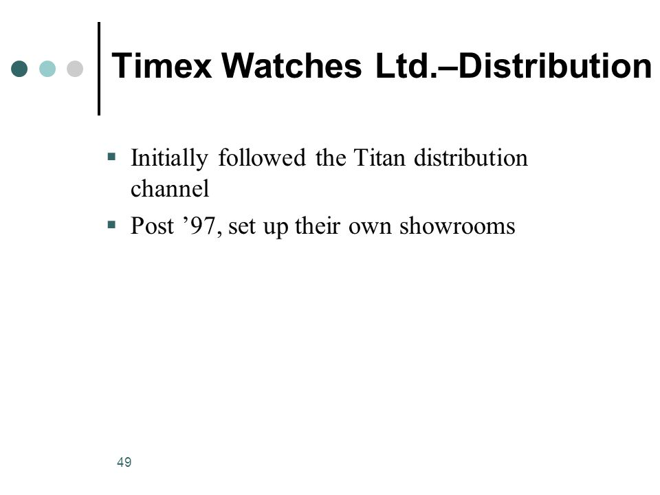 49 Timex Watches Ltd.–Distribution  Initially followed the Titan distribution channel  Post '97, set up their own showrooms