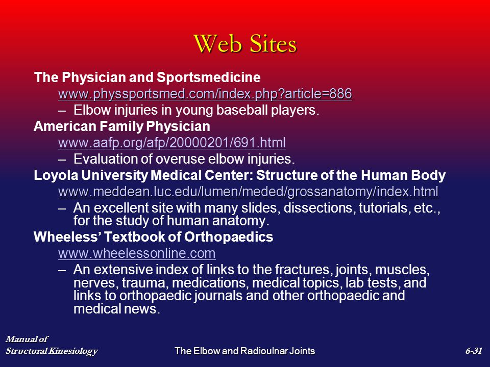 Web Sites The Physician and Sportsmedicine www.physsportsmed.com/index.php article=886 – –Elbow injuries in young baseball players.