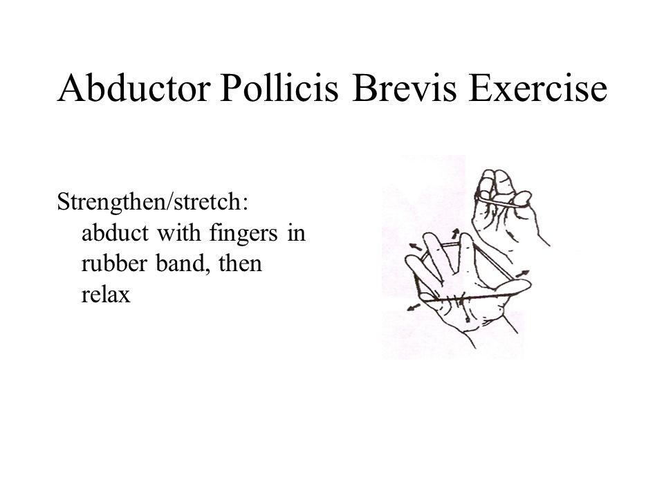 Abductor Pollicis Brevis Exercise Strengthen/stretch: abduct with fingers in rubber band, then relax