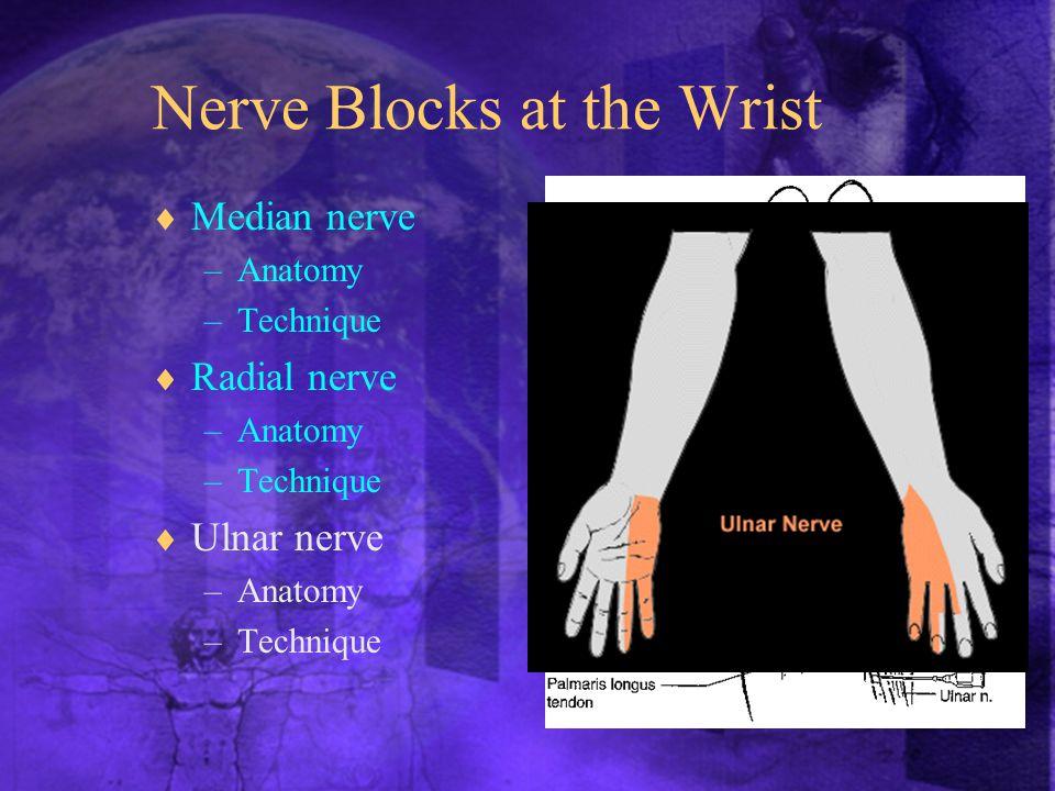 Nerve Blocks at the Wrist  Median nerve –Anatomy –Technique  Radial nerve –Anatomy –Technique  Ulnar nerve –Anatomy –Technique