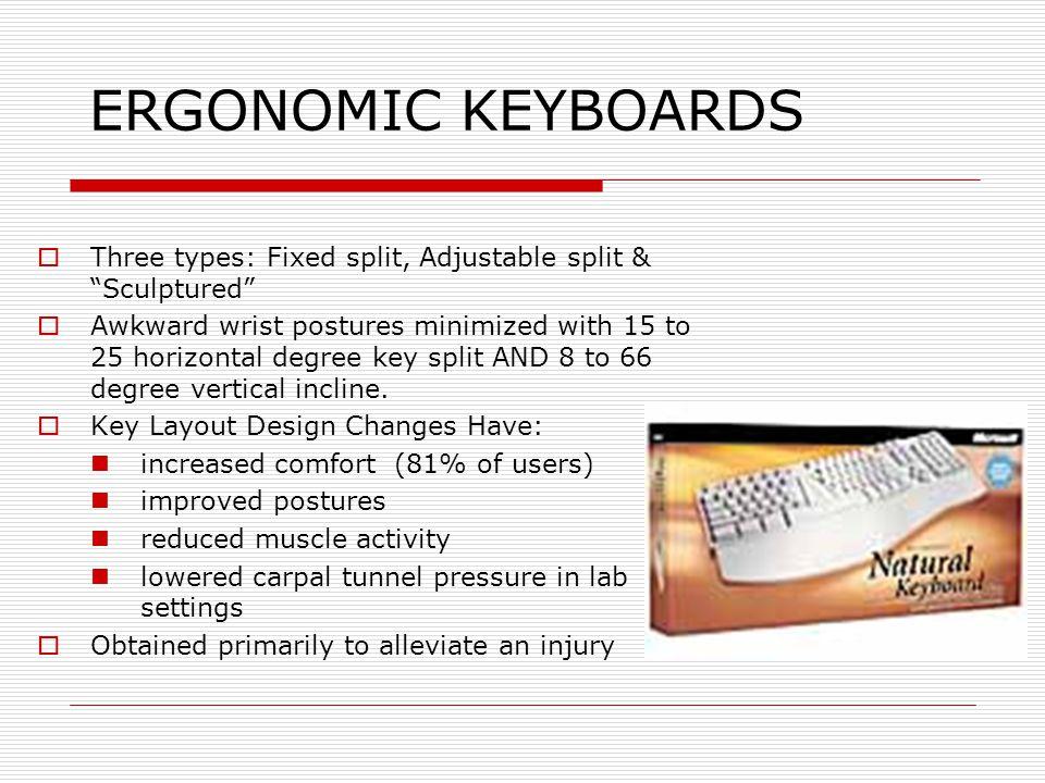 ERGONOMIC KEYBOARDS  Three types: Fixed split, Adjustable split & Sculptured  Awkward wrist postures minimized with 15 to 25 horizontal degree key split AND 8 to 66 degree vertical incline.