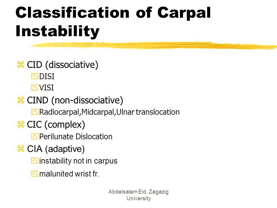 Classification of Carpal Instability zCID (dissociative) yDISI yVISI zCIND (non-dissociative) yRadiocarpal,Midcarpal,Ulnar translocation zCIC (complex