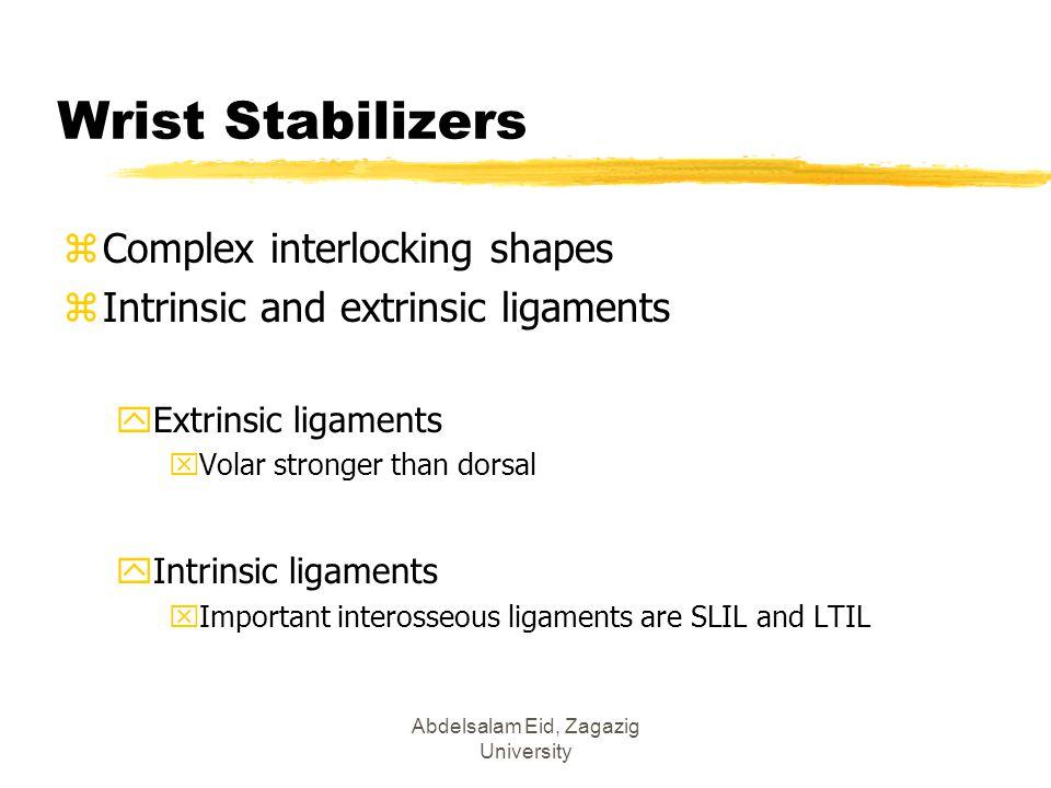 Wrist Stabilizers zComplex interlocking shapes zIntrinsic and extrinsic ligaments yExtrinsic ligaments xVolar stronger than dorsal yIntrinsic ligament