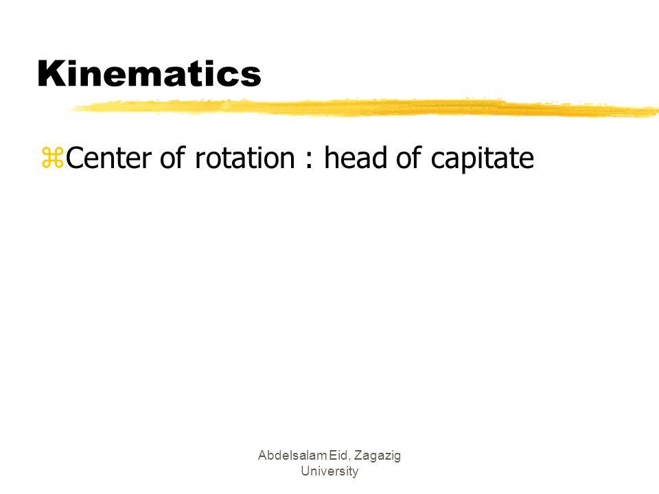 Abdelsalam Eid, Zagazig University Kinematics zCenter of rotation : head of capitate