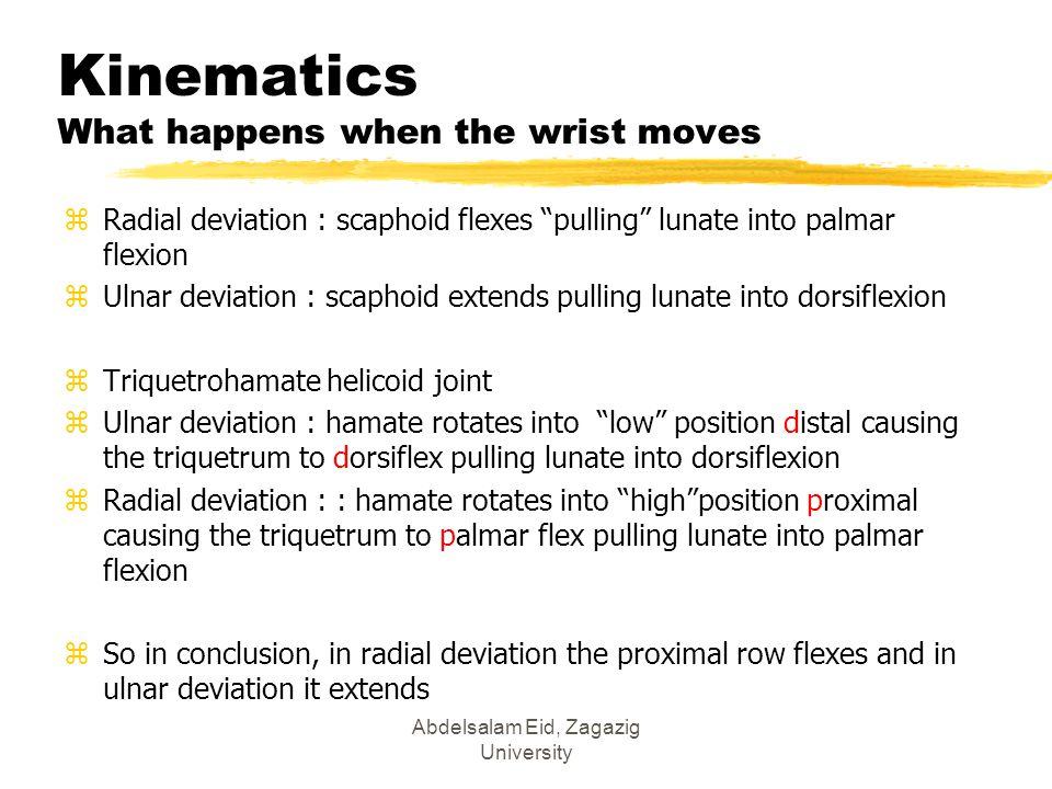 "Abdelsalam Eid, Zagazig University Kinematics What happens when the wrist moves zRadial deviation : scaphoid flexes ""pulling"" lunate into palmar flexi"