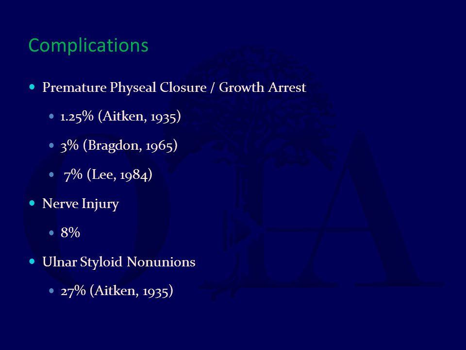 Complications Premature Physeal Closure / Growth Arrest 1.25% (Aitken, 1935) 3% (Bragdon, 1965) 7% (Lee, 1984) Nerve Injury 8% Ulnar Styloid Nonunions
