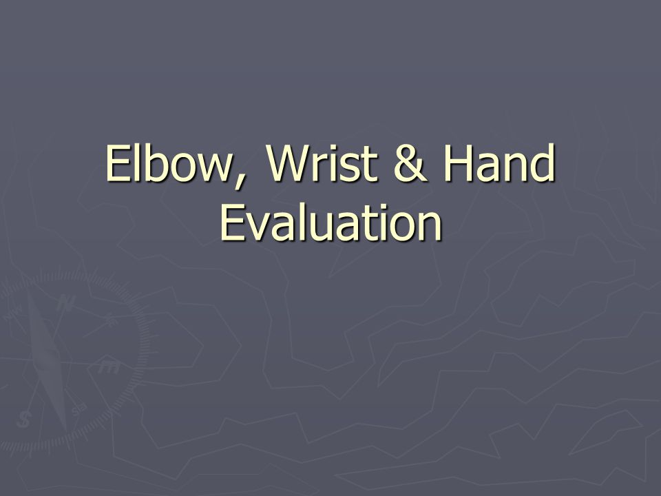 Common Injuries to the Elbow, Wrist, Hand & Fingers ► Lateral epicondylitis – tennis elbow ► Medial epicondylitis – golfer's elbow , little league elbow ► Hyperextension ► Sprains ► DeQuervain's disease ► Dislocations ► Bursitis ► Carpal tunnel syndrome ► Mallet finger ► Boutonniere deformity ► Subungual hematoma ► Contusions ► Pathological hand/finger positions (S & R, p.295-300) ► Fractures  Colles' fx