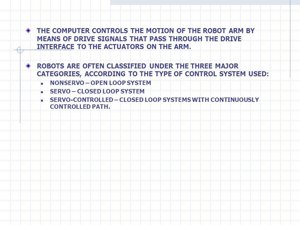 THE COMPUTER CONTROLS THE MOTION OF THE ROBOT ARM BY MEANS OF DRIVE SIGNALS THAT PASS THROUGH THE DRIVE INTERFACE TO THE ACTUATORS ON THE ARM. ROBOTS