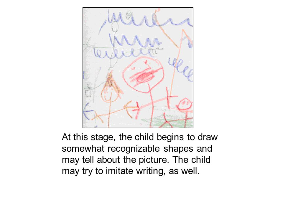 At this stage, the child begins to draw somewhat recognizable shapes and may tell about the picture. The child may try to imitate writing, as well.