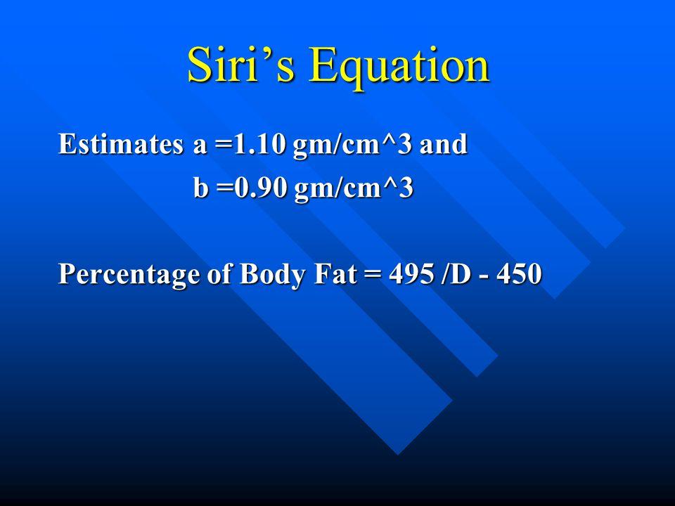 Proportion of Fat Tissue D = 1/[(A/a) + (B/b)] B = (1/D)*[a*b/(a-b)]-[b/(a-b)]