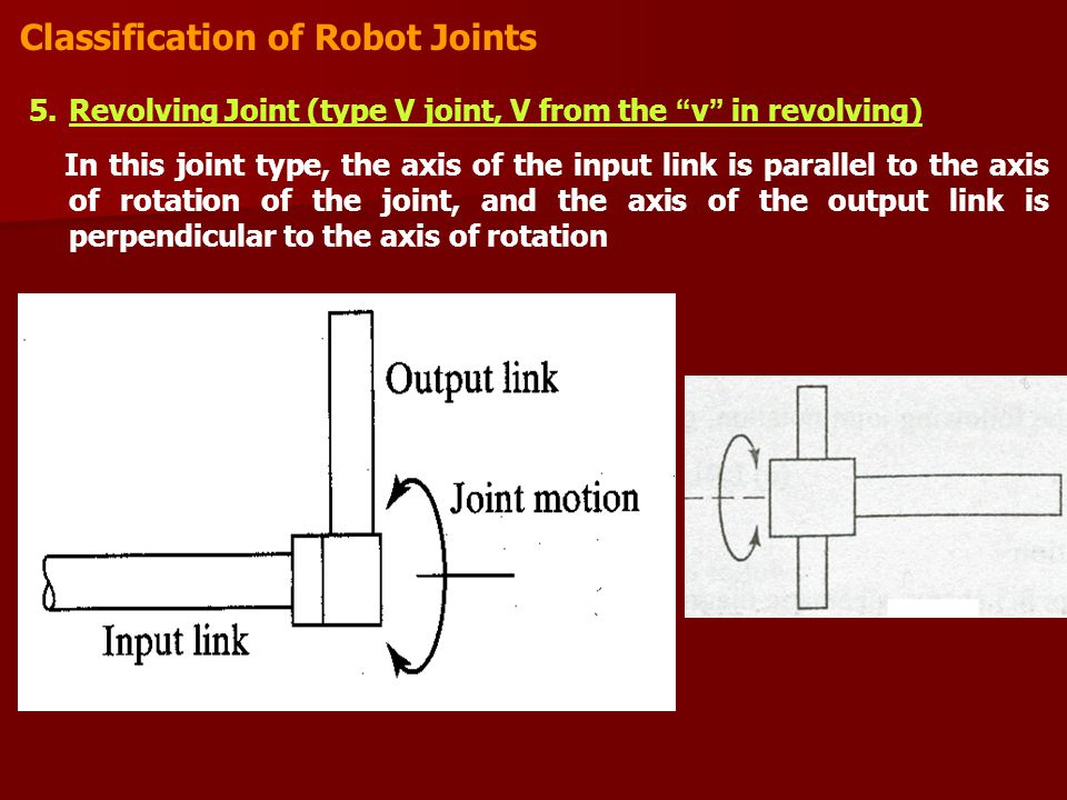 Classification of Robot Joints 5.Revolving Joint (type V joint, V from the v in revolving) In this joint type, the axis of the input link is parallel to the axis of rotation of the joint, and the axis of the output link is perpendicular to the axis of rotation