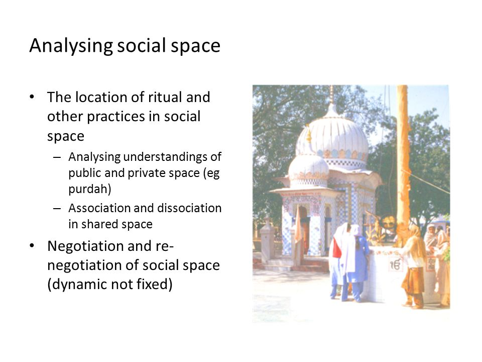 Analysing social space The location of ritual and other practices in social space – Analysing understandings of public and private space (eg purdah) – Association and dissociation in shared space Negotiation and re- negotiation of social space (dynamic not fixed)
