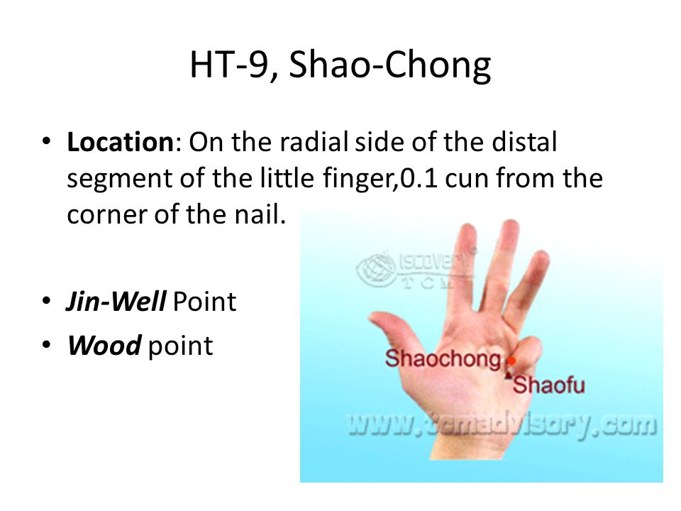 HT-9, Shao-Chong Location: On the radial side of the distal segment of the little finger,0.1 cun from the corner of the nail.