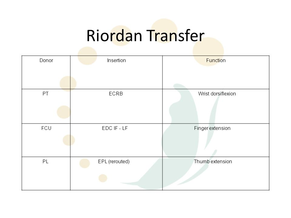 Riordan Transfer DonorInsertionFunction PT ECRB Wrist dorsiflexion FCU EDC IF - LF Finger extension PL EPL (rerouted) Thumb extension