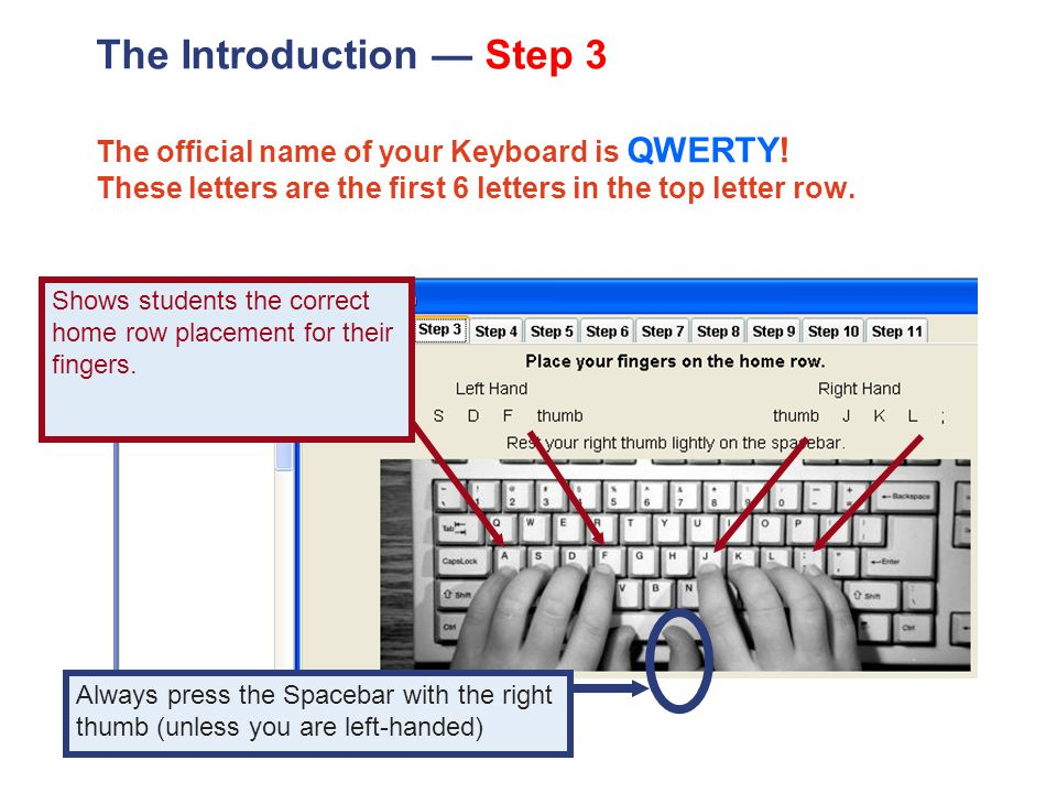 The Introduction — Step 3 The official name of your Keyboard is QWERTY.