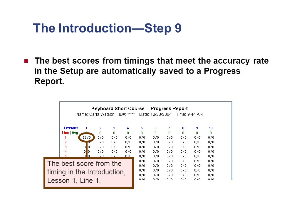 The Introduction—Step 9 The best scores from timings that meet the accuracy rate in the Setup are automatically saved to a Progress Report.