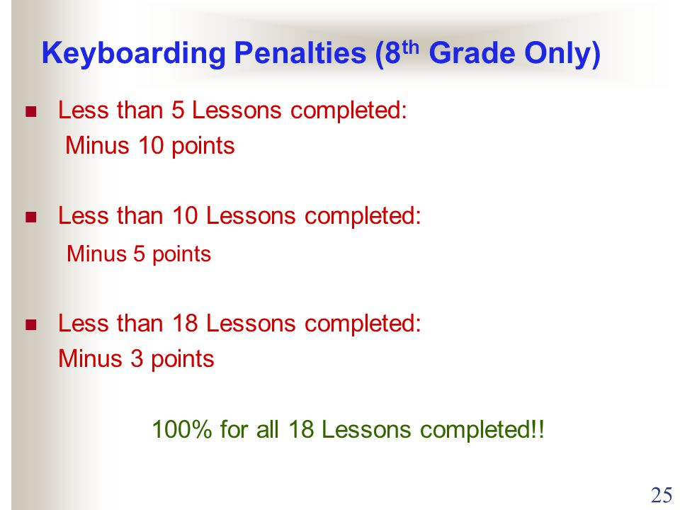 25 Keyboarding Penalties (8 th Grade Only) Less than 5 Lessons completed: Minus 10 points Less than 10 Lessons completed: Minus 5 points Less than 18 Lessons completed: Minus 3 points 100% for all 18 Lessons completed!!