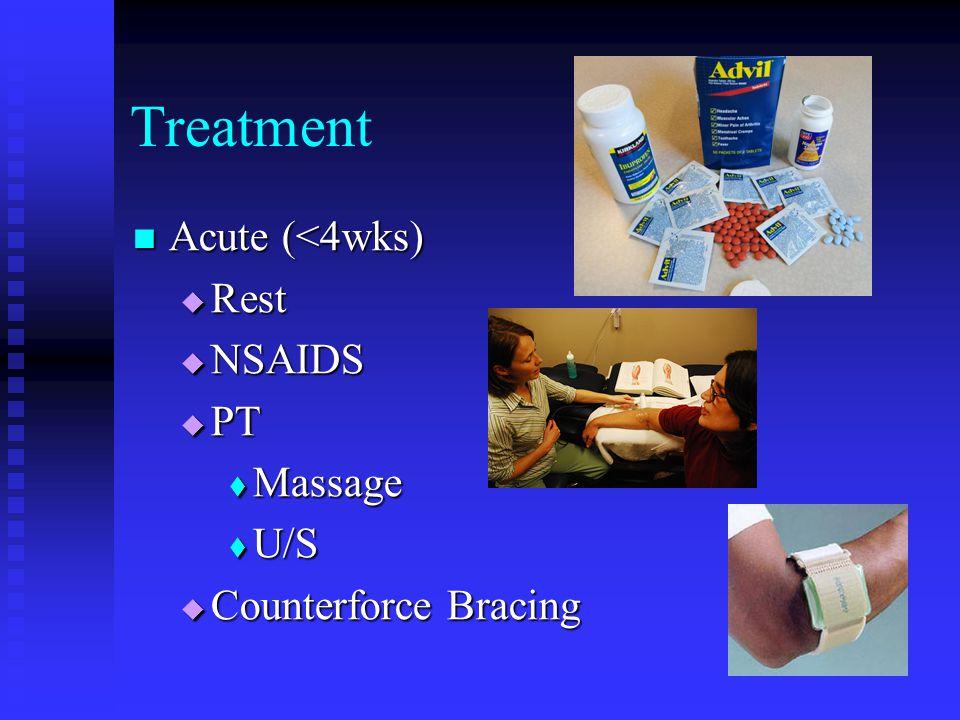 Treatment Acute (<4wks) Acute (<4wks)  Rest  NSAIDS  PT  Massage  U/S  Counterforce Bracing