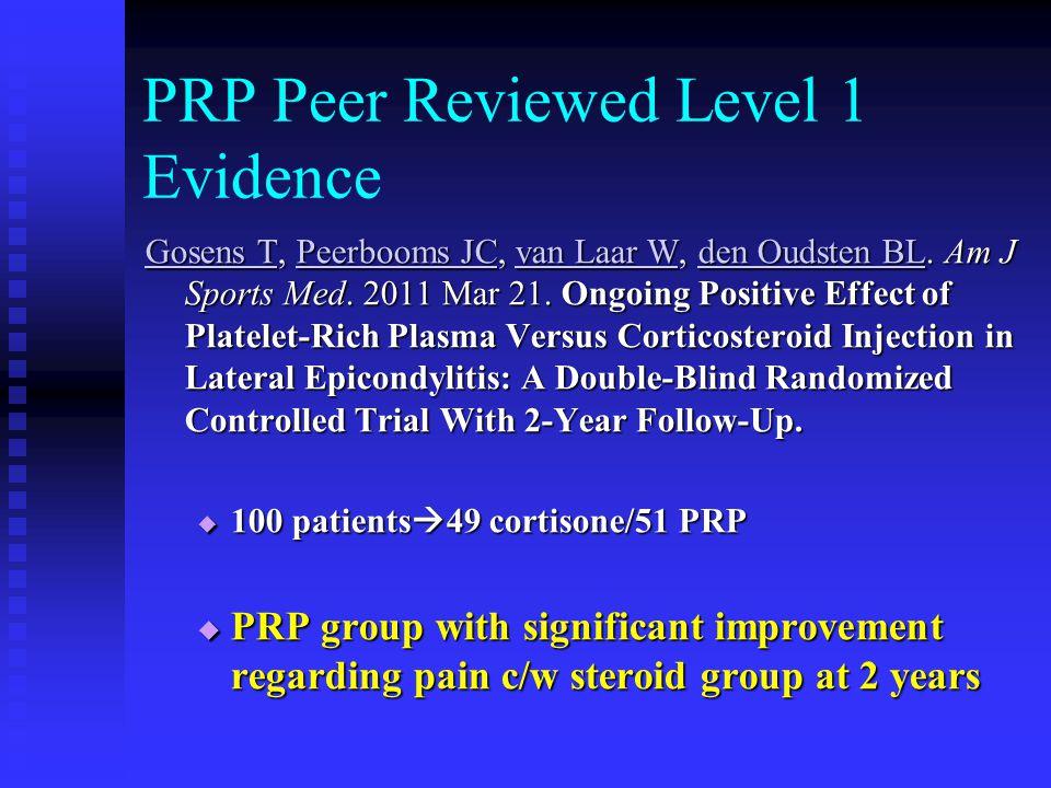 PRP Peer Reviewed Level 1 Evidence Gosens TGosens T, Peerbooms JC, van Laar W, den Oudsten BL.