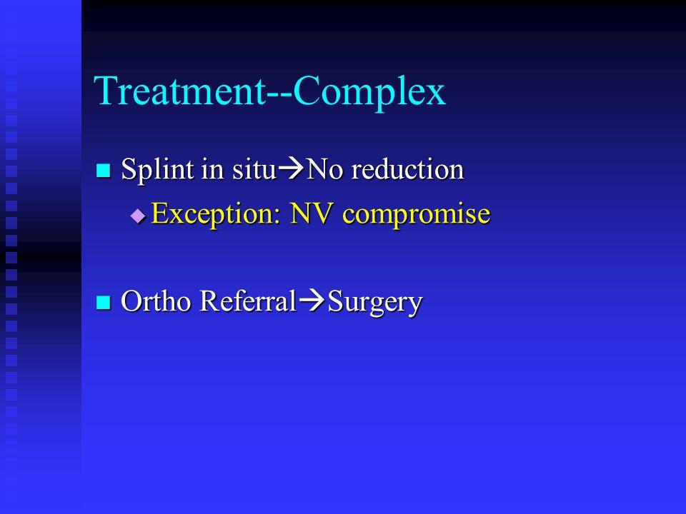 Treatment--Complex Splint in situ  No reduction Splint in situ  No reduction  Exception: NV compromise Ortho Referral  Surgery Ortho Referral  Surgery