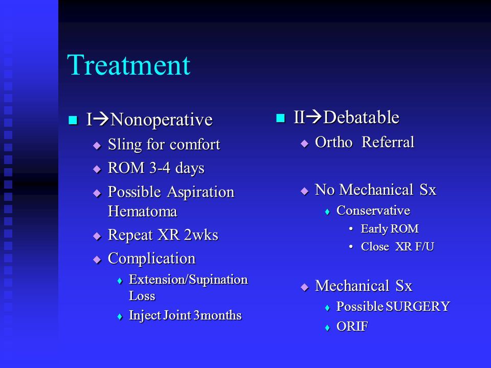 Treatment I  Nonoperative I  Nonoperative  Sling for comfort  ROM 3-4 days  Possible Aspiration Hematoma  Repeat XR 2wks  Complication  Extension/Supination Loss  Inject Joint 3months II  Debatable  Ortho Referral  No Mechanical Sx  Conservative Early ROM Close XR F/U  Mechanical Sx  Possible SURGERY  ORIF