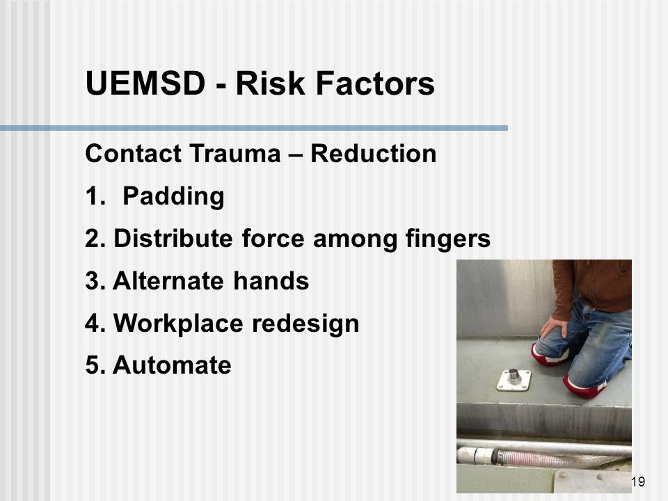 19 UEMSD - Risk Factors Contact Trauma – Reduction 1.Padding 2.