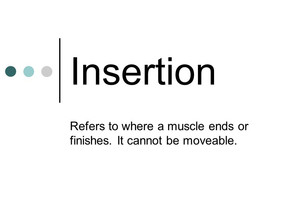 Insertion Refers to where a muscle ends or finishes. It cannot be moveable.