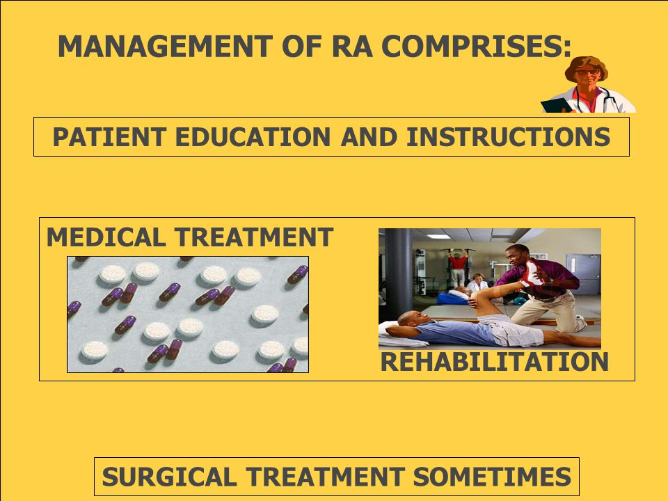 MANAGEMENT OF RA COMPRISES: PATIENT EDUCATION AND INSTRUCTIONS MEDICAL TREATMENT REHABILITATION SURGICAL TREATMENT SOMETIMES