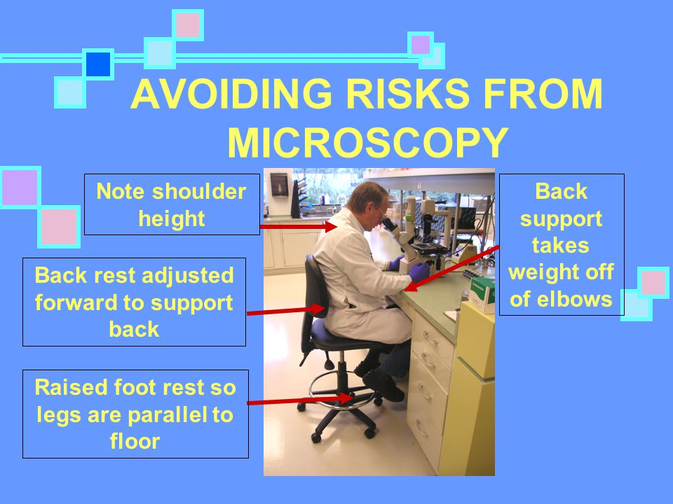 AVOIDING RISKS FROM MICROSCOPY Back rest adjusted forward to support back Raised foot rest so legs are parallel to floor Back support takes weight off of elbows Note shoulder height
