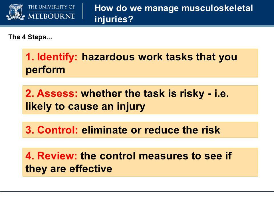 1. Identify: hazardous work tasks that you perform 2.