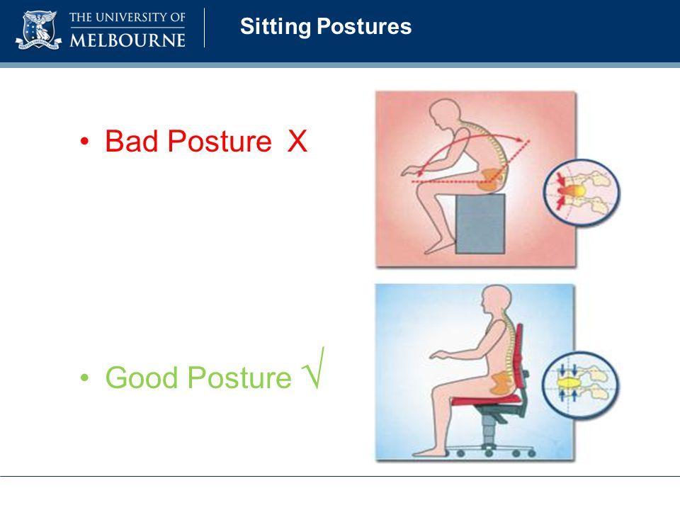 Sitting Postures Bad Posture X Good Posture √