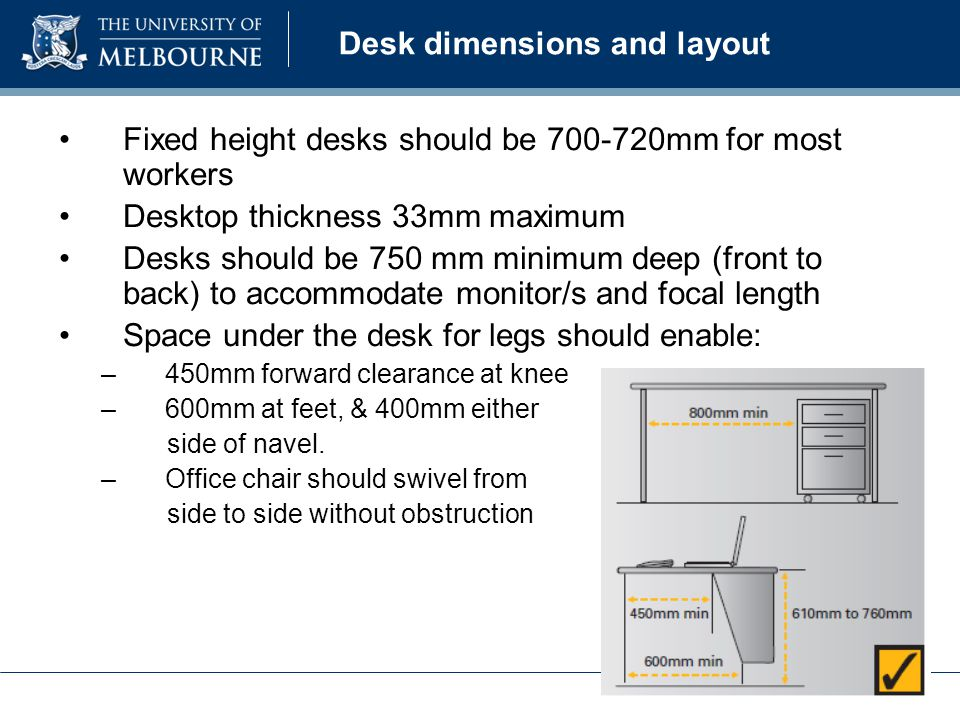 Desk dimensions and layout Fixed height desks should be 700-720mm for most workers Desktop thickness 33mm maximum Desks should be 750 mm minimum deep (front to back) to accommodate monitor/s and focal length Space under the desk for legs should enable: –450mm forward clearance at knee –600mm at feet, & 400mm either side of navel.