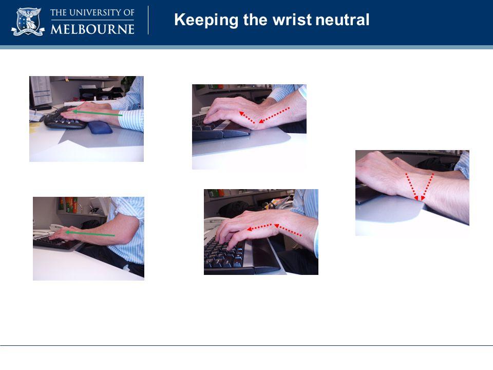 Keeping the wrist neutral