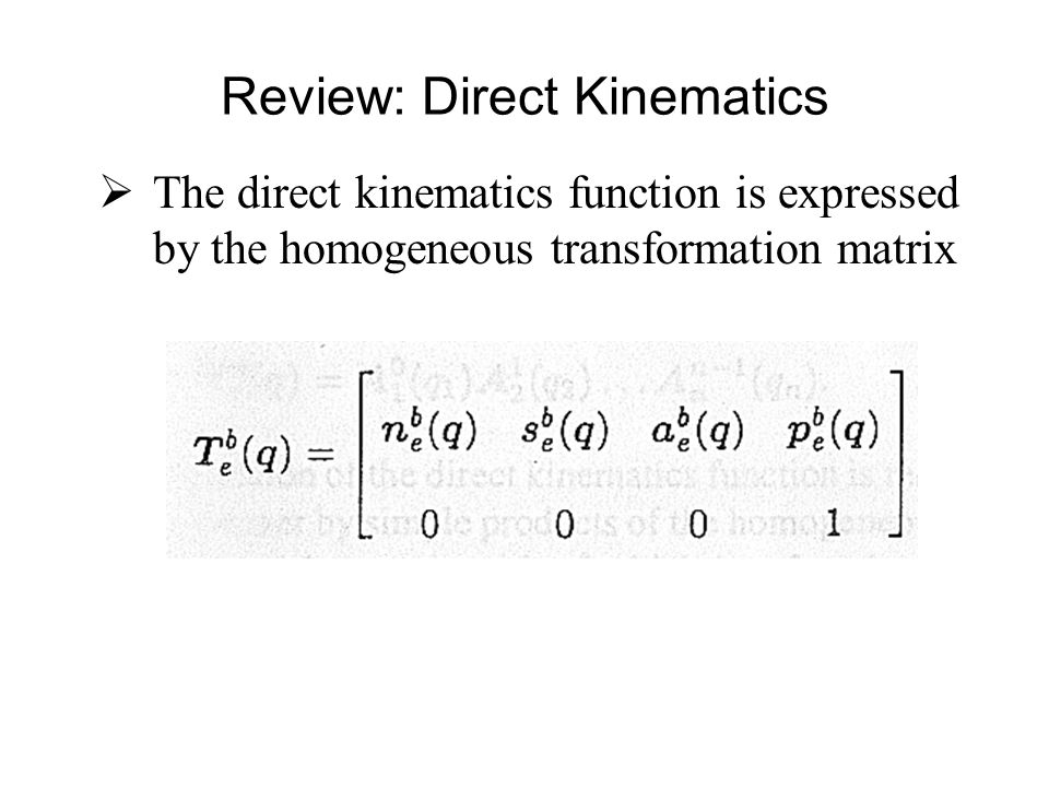  Computation of direct kinematics function is recursive and systematic Review: Open Chain